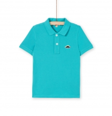 Lojopol2 boys Basic Turquoise Cotton Polo Shirt