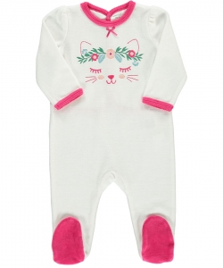 Defigrecha Baby Girls White Velour Sleepsuit