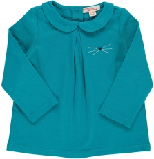Dijobra5 Baby Girls Turquoise Collared T-shirt
