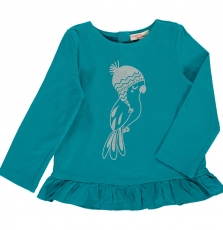 Dijotee5 Baby Girls Turquoise Printed T-shirt