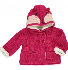 Dirouves Baby girls Pink Fleece Lined Jacket