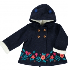 Ditrimant Baby Girls Navy Boiled Wool Coat