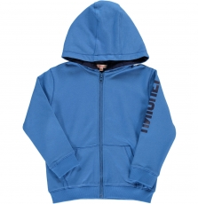 Dojogimol3 Boys Blue Hooded Zipped Sweatshirt