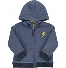 Dojosher1 Boys Blue Fleece Lined Zipped Hooded Sweatshirt