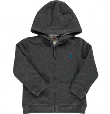 Dojosher2 Boys Dark Grey Fleece Lined Zipped Hooded Sweatshirt