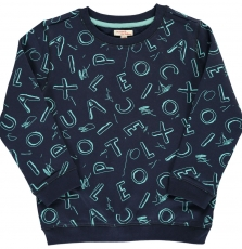 Dosweat2 Boys Navy Cotton Printed Sweatshirt