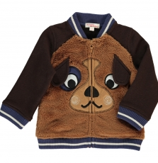 Duchogil1 Baby Boys Brown Brushed Cotton Cardigan