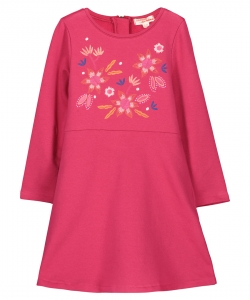 Fabarob1 Girls Fushia Jersey Embroidered Dress