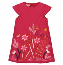 Fabarob3 Girls Embroidered Fushia Cotton Dress