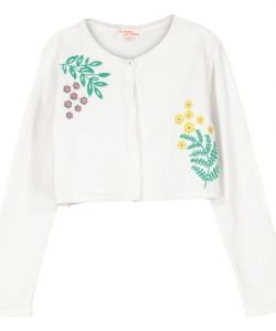 Facacar1 Girls White Embroidered Cardigan