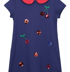 "Facorob3 Girls Navy ""Cherry"" Jersey Dress"