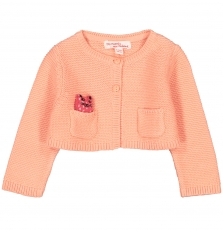 Fibacar2 Baby Girls Coral Cotton Mix Cardigan