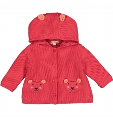 Fibavest1 Baby Girls Strawberry Lined Cotton Cardigan With Hood