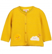 Filicar Baby Girls Yellow Cotton Cardigan