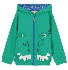 Focagil Boys Green Zipped Hooded Sweatshirt