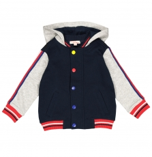 Focogil Boys Navy And Grey Hooded Top
