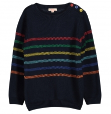 Focopul Boys Navy Striped Cotton Jumper