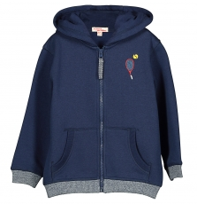 Fojojoh1 Boys Navy Hooded Zipped Sweatshirt Top