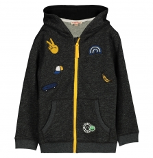 Foligil Boys Black Hooded Cotton Sweatshirt