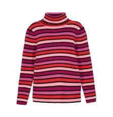 Gabrupull2 Girls Striped Ribbed Cotton polo Neck