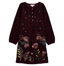 Gajaurob1b Girls Brown Corduroy Dress
