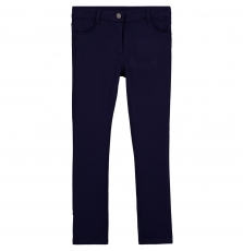 Gajomil4 Girls Stretch Navy Cotton Mix Trousers