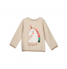 "Gaveswea Girls Cream ""unicorn"" Sweatshirt"