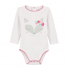 Gefibodre Baby Girls White Printed Cotton Bodysuit