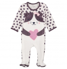 Gefigregir Baby Girls Spotted Velour Sleepsuit