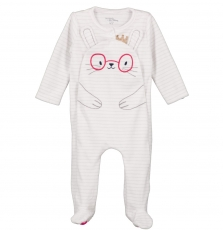 "Gefigrelap Baby Girls Cream Velour 'rabbit"" Sleepsuit"