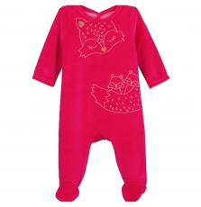 Gefigrepre Baby Girls Rose Velour Sleepsuit