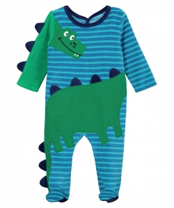 "Gegagrecro Baby Boys Velour ""crocodile"" Sleepsuit"