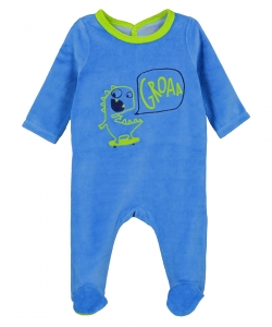 Gegagredin Baby Boys Blue Velour Sleepsuit