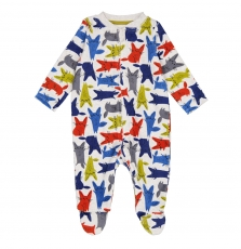 Gegagrelapi Baby Boys Zipped Velour Sleepsuit