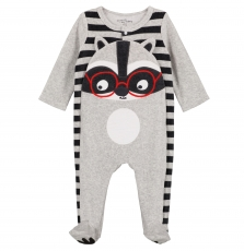 Gegagrerat Baby Boys Grey Velour Sleepsuit