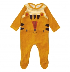 "Gegagretig Baby Boys Yellow ""Tiger"" Velour Sleepsuit"