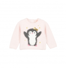 "Giblapull Baby Girls Pink ""penguin"" Jumper"