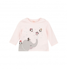 Giblatee Baby Girls Pink Printed Cotton T-shirt