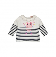 Giblebra Baby Girls Collared Striped T-shirt