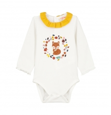 Gijaubody Baby Girls Cream Printed Bodysuit