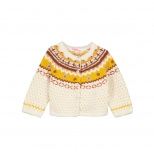 Gijaucar1 Baby Girls Cotton Mix Fairisle Cardigan