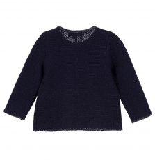 Gijocar2 Baby Girls Navy Cotton Cardigan