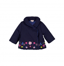 Giveparka Baby Girls Reversible Navy Embroidered Coat
