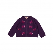 Giviocar2 Baby Girls Sequinned Violet Cotton Cardigan