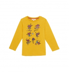 Gobrutee4 Boys Yellow Printed T-shirt