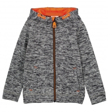 Gojogitek2 Boys Grey Fleece Zipped Hooded Sweatshirt