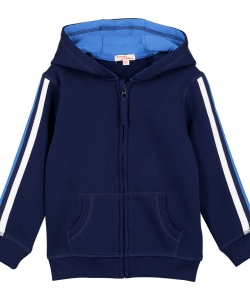 Gojojoh1Boys Navy Hooded Zipped Tracksuit Top