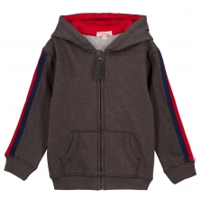 Gojojoh2 Boys Dark Grey Hooded Zipped Tracksuit Top