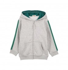 Gojojoh3 Boys Grey Hooded Zipped Tracksuit Top