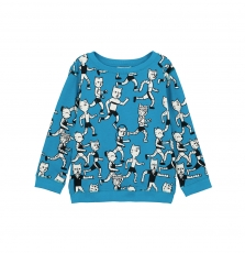 Gojoswe2 Boys Turquoise Printed Cotton Sweatshirt
